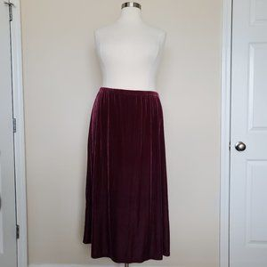 Denim Co Red Maroon Velvet Long Skirt Plus Size 2X